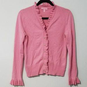 Darling Lilly Pulitzer pink ruffle cardigan, sz M